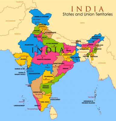 Karte Indien, Indische Gebiete, Provinezen, Regionen
